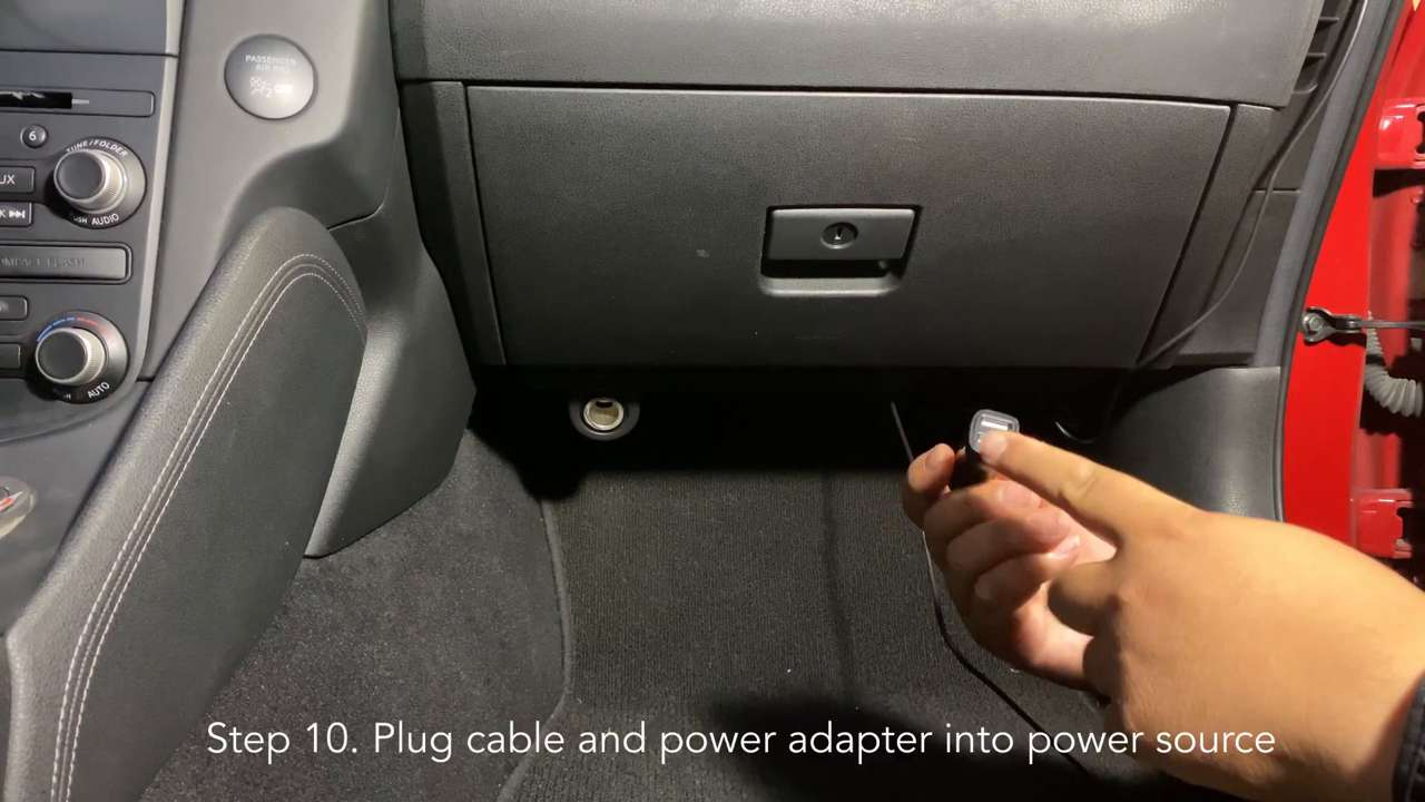 Plug cable and adapter into power source